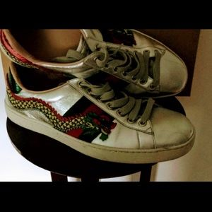 Gucci, Dragon Ace embroidered, leather sneakers 7
